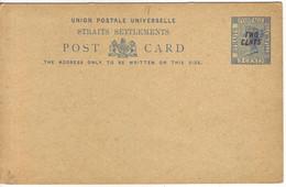STRAITS SETTLEMENTS   Ganzsache Postkarte Postal Stationary  Postcard 2 Cents Overprint On 3 Cents Ungebraucht  Unused - Straits Settlements
