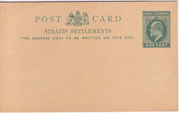 STRAITS SETTLEMENTS   Ganzsache Postkarte    Postal Stationary Postcard One Cent Ungebraucht  Unused - Straits Settlements