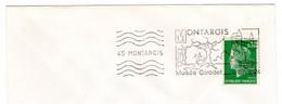 """Oblitération Mécanique BLOC DE MONTARGIS Loiret Flamme """"MONTAGIS MUSEE GIRODET """" Cheval Bateau Péniche Musée Girodet - Mechanical Postmarks (Advertisement)"""