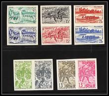 85469 N°47 51 5 Paires Fetes De Juillet Chevaux Horse Javelin Javelot Polynesie Polynesia Essai Color Proof Non Dentelé - Geschnitten, Drukprobe Und Abarten
