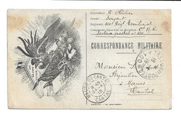 CARTE FRANCHISE MILITAIRE . DRAPEAU COQ - IMPRIM.GROU MONTDIDIER - CARTE FM - SP 100 - GUERRE14/18 =>MAURS (cantal) - Lettere In Franchigia Militare