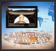 85967/ N°264 B Zeppelin Ballon Ballon 1983 Espace Space Centrafricaine OR Gold ** MNH Non Dentelé Imperf - Zeppeline