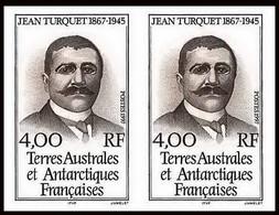 90013f/ Terres Australes Taaf N°217 Jean Turquet Explorer Non Dentelé Imperf ** MNH Paire - Geschnitten, Drukprobe Und Abarten