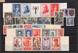 1943 Année Complète Neufs ** PARFAIT état Avec Bandes Petain - 1940-1949