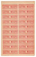 Document Interne La Poste Etiquette LETTRE MISSIVE. Planche Complète De 20 étiquettes - Documents Of Postal Services