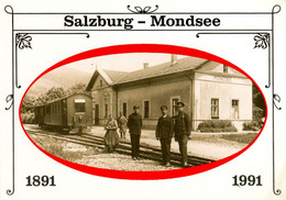 AK SKGLB Salzkammergut-Lokalbahn Ischlerbahn 1991 Mondseer Kuh Bahnhof Mondsee Heimatbund Mondseeland - Trains