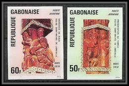 90030b Gabon (gabonaise) Non Dentelé ** MNH Imperf N°188/189 Noël Sculptures Eglises (church) - Gabon