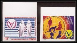 91054 Congo N° 631/632 Personnes Handicapées Handicap Persons With Disabilities Non Dentelé Imperf ** MNH - Handicaps
