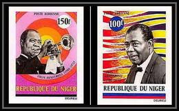 91830c Niger N° 168/169 Music Armstrong Jazz Black Musique Non Dentelé Imperf ** MNH - Music