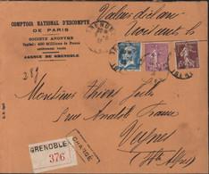 Recommandé Grenoble Chargé  YT 181 189 202 Perforation C.N. Comptoir National (Escompte Paris) + Cachet Cire CNEP - Gezähnt (Perforiert/Gezähnt)