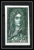 France N°1008 Louis De Rouvroy Duc De St-Simon Essai (trial Color Proof) Non Dentelé Imperf ** MNH - Ungezähnt