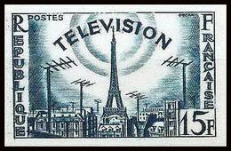 France N°1022 La Télévision Paris Tour Eiffel Telecom Essai (trial Color Proof) Non Dentelé Imperf ** - Ungezähnt