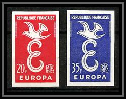 France N°1173/1174 Europa 1958 Non Dentelé ** MNH (Imperf) - Ongetand