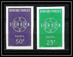 France N°1218/1219 Europa 1959 Non Dentelé ** MNH (Imperf) Cote 154 Euros - Ongetand