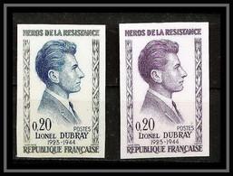 France N°1289 Héros De La Résistance Lionel Dubray Paire Essai (trial Color Proof) Non Dentelé Imperf ** MNH - Ungezähnt