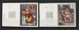 France N°1376 / 1377 Lutte De Jacob Avec L'Ange Delacroix Sainte Foy Conches Tableau (Painting) Non Dentelé Imperf - Ungezähnt