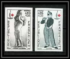 France N°1400 / 1401 Croix Rouge (red Cross) 1963 Non Dentelé ** MNH (Imperf) - Ungezähnt
