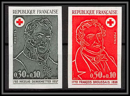 France N°1735 / 1736 Croix Rouge (red Cross) Desgenettes Broussais Non Dentelé ** MNH (Imperf) - Ungezähnt