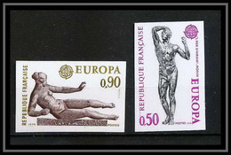 France N°1789 / 1790 Europa 1974 Sculpture L'Air, Maillol / Rodin Cote 95 Non Dentelé ** MNH (Imperf) - Imperforates