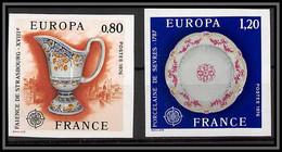 France N°1877 / 1878 Europa 1976 Porcelaine De Sèvres / Strasbourg Non Dentelé ** MNH (Imperf) - Imperforates