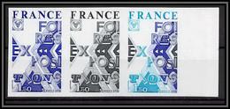 France N°1909 Foires Expositions 1976 Bande De 3 Essai (trial Color Proof) Non Dentelé Imperf ** MNH - Probedrucke