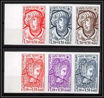 France N°2070/2071 Croix Rouge Red Cross 1979 Vitraux église Rouen Church Essai Trial Proof Non Dentelé ** MNH Imperf - Probedrucke