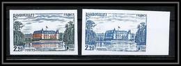 France N°2111 Chateau De Rambouillet (castle) 1980 Essai (trial Color Proof) + Non Dentelé Imperf ** MNH - Probedrucke
