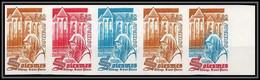 France N°2112 Abbaye Saint-Pierre De Solesmes Eglise Church Bande 5 Strip Essai Proof Non Dentelé Imperf ** Mnh - Probedrucke