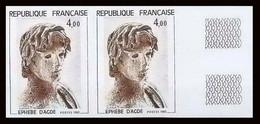 France N°2210 Tableau (Painting) L'Ephèbe D'Agde Statue Antique En Bronze Paire Non Dentelé ** MNH (Imperf) - Ungezähnt