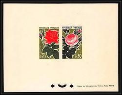 France - N°1356 / 1357 Roses Fleur Flower épreuve De Luxe Collective (deluxe Proof) - Rose