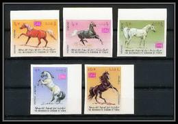 329 - Yemen Kingdom MNH ** Mi N° 429 / 433 B Cheval (chevaux Arabes Horse Arab Horses) Non Dentelé (Imperf) - Yemen