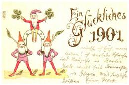 Année Date Millesime - 1901 - Fer à Cheval Et Nain Trèfles Glückliches Gaufré - Anno Nuovo