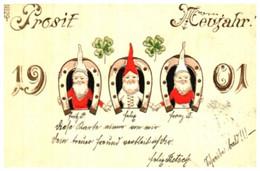 Année Date Millesime - 1901 - Fer à Cheval Et Nain Trèfles Prosit Gaufré - Anno Nuovo