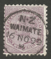 NEW ZEALAND. QV. 6d MAUVE. WAIMATE POSTMARK + BLIND PERF. - Used Stamps