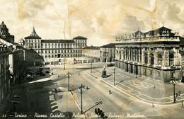 TORINO PIAZZA CASTELLO PALAZZO REALE EPALAZZO MADAMA  VIAGGIATA 1943 CENSURATA LAVORATA AI BORDI - Places