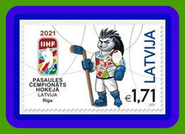 """Latvia , Lettonia, Lettland The Official Mascot Of The IIHF 2021 World Hockey Championship - Hedgehog """"Spiky"""" MNH - Lettonie"""