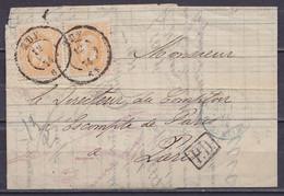 """L. Affr. Paire N°33 Càd HUY /12 MAI 1874 Pour PARIS - [P.D.] - Càd Ambulant Bleu """"EPERNAY 2 / ERQUELINNES"""" - 1869-1883 Leopold II"""