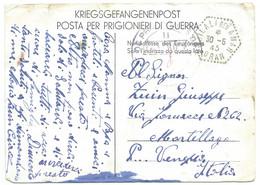 1945 KRIEGSGEFANGENENPOST DJILALI BEN AMAR ALGERIE POUR MORTILLAGO ITALIE / STALAG VII POLAT ORAN - Brieven En Documenten