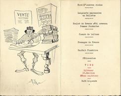 Menu 10 - Mariage D'un Clerc De Notaire De Chemillé - 30 Août 1955 - Dessin Humoristique Original - Chemille