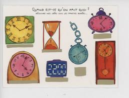 """Cécilia Ambroggio & Doumayrou Illustrateur """"Quand Est-ce Qu'on Fait"""" Carte à Gratter N°13 (fantaisie) Pendule Sablier - Humour"""