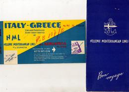 HELLENIC  MEDITERRANEAN  LINES  M/S  EGNATIA - PASSENGER  TICKET  1969 - Andere