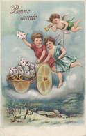 Ancienne Carte Postale - Anges  Bonne Année Angels - Carte Gaufrée - Angels