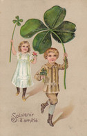 Ancienne Carte Postale Gaufrée - Enfants Trèfle Souvenir D'amitié - Other