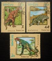 Laos  Lot De 3 Timbres Oblitérés  Juvalux 88 Animaux Préhistoriques Trachodon Ceratosaurus Nasicornis Scolosaurus - Laos