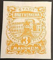Germany Stadtpost/Privatpost Manheim 3 Pfg 1895/6 Unused Michel 8u - Sello Particular