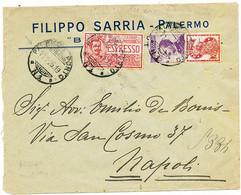 1925 PUBBLICITARIO 0,50 SINGER + ESPRESSO 0,60 PALERMO PORTO VIA DI MARE X NAPOLI CON NATANTE PALERMO NAPOLI - Storia Postale