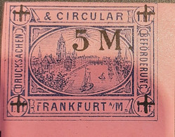 Germany Stadtpost/Privatpost Frankfurt 5 Mark On 1 Pfg Michel 8b - Sello Particular