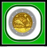 Litauen, Lithuania 2021münze 2 Euro Biosphärenreservat Vogel, Frosch Von Rolle Presale - Lituania