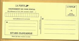 Carte Changement De Code Postal 57185 CLOUANGE - Documenten Van De Post