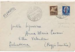 1944 RSI RACCOMANDATA 1,25 FASCETTO TIRATURA FIRENZE + 0,50 PA PEGASO BOLOGNA X REGGIO EMILIA - Marcophilia